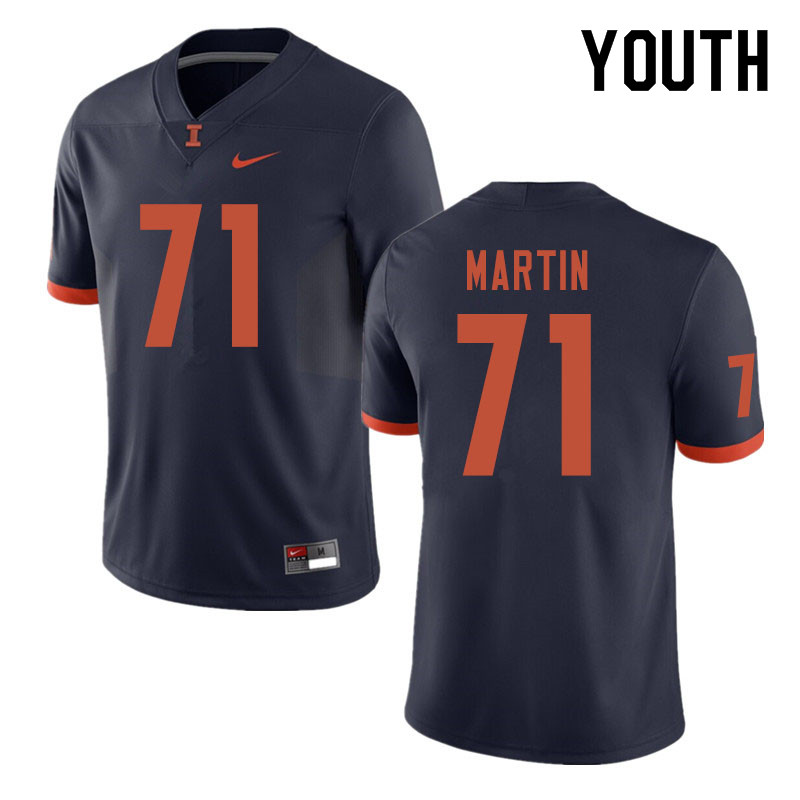 Youth #71 Zeke Martin Illinois Fighting Illini College Football Jerseys Sale-Navy