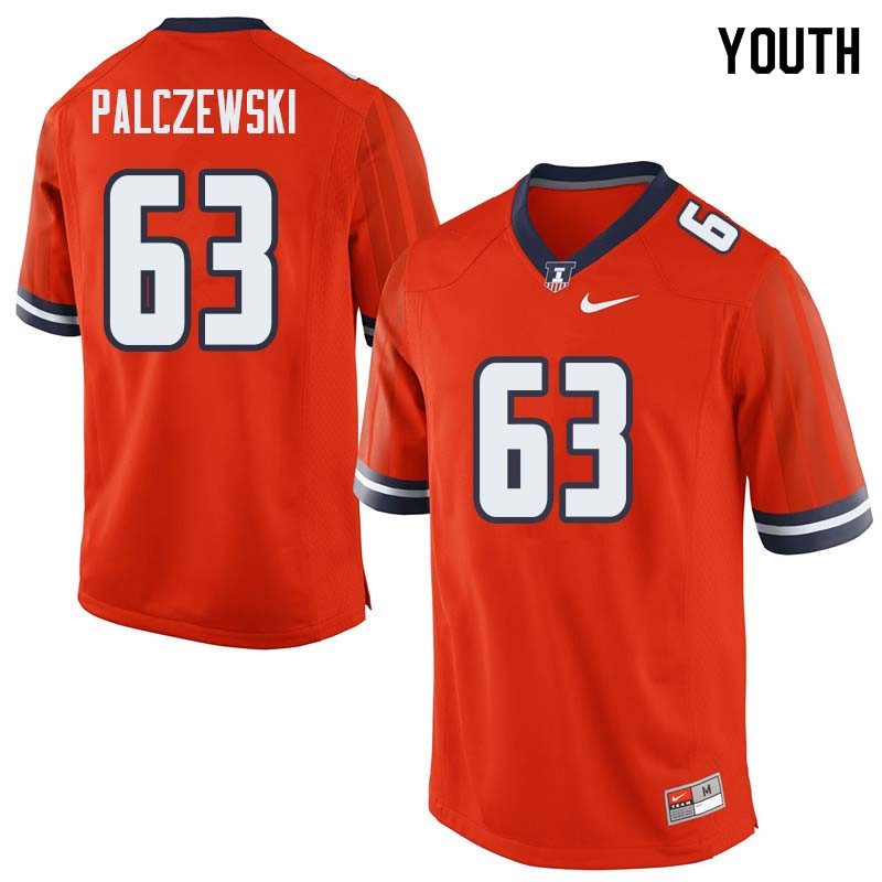 Youth #63 Alex Palczewski Illinois Fighting Illini College Football Jerseys Sale-Orange