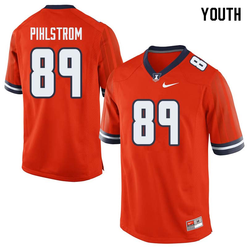 Youth #89 Alex Pihlstrom Illinois Fighting Illini College Football Jerseys Sale-Orange