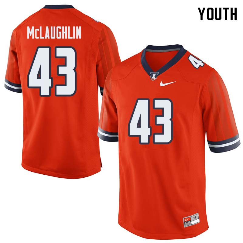 Youth #43 Chase McLaughlin Illinois Fighting Illini College Football Jerseys Sale-Orange
