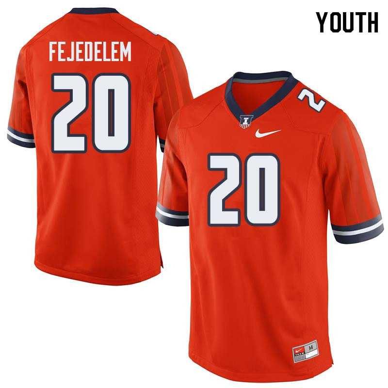 Youth #20 Clayton Fejedelem Illinois Fighting Illini College Football Jerseys Sale-Orange