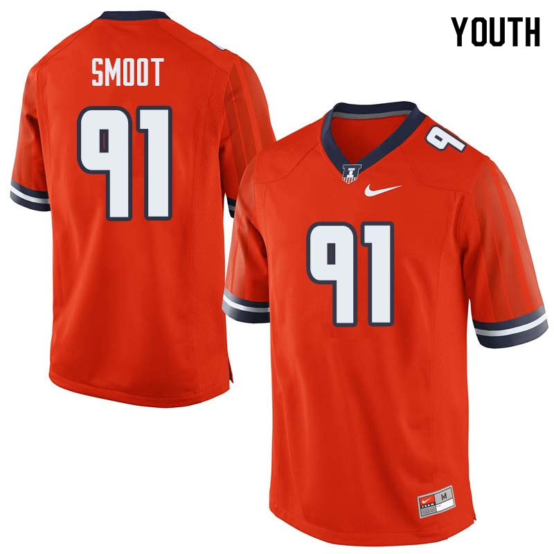 Youth #91 Dawuane Smoot Illinois Fighting Illini College Football Jerseys Sale-Orange