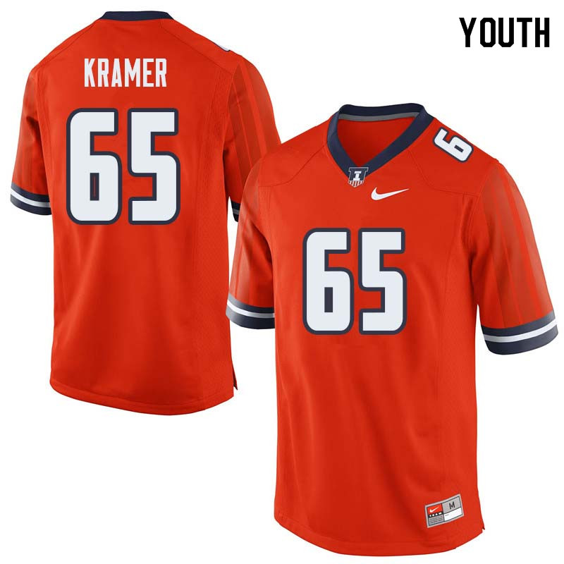 Youth #65 Doug Kramer Illinois Fighting Illini College Football Jerseys Sale-Orange