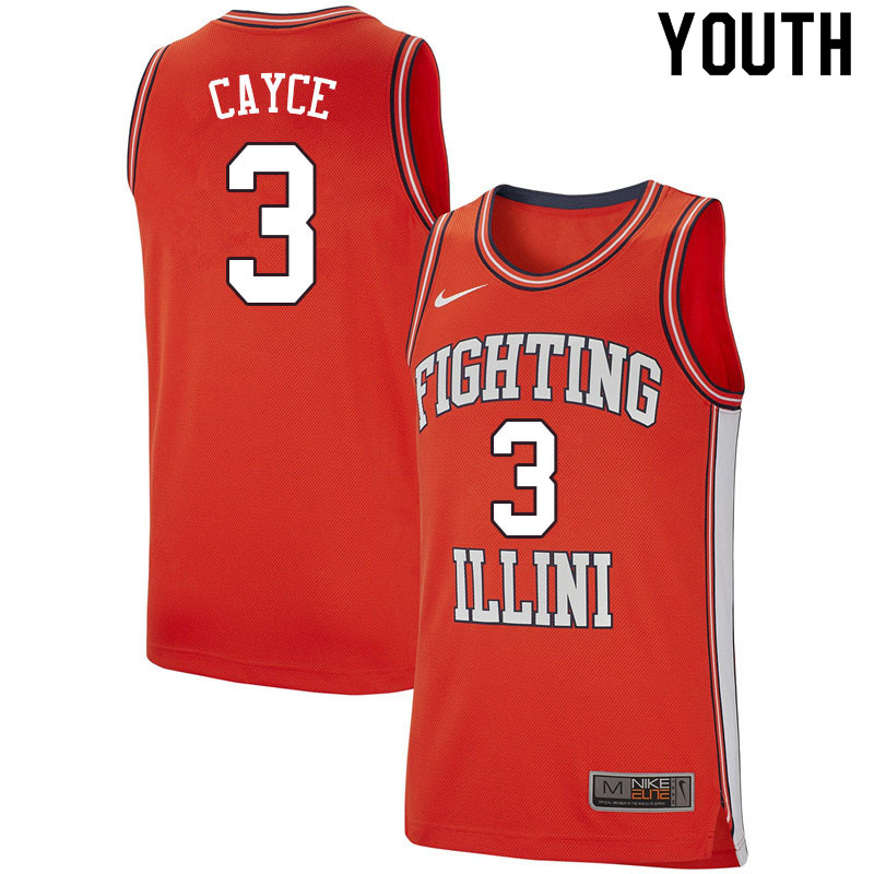 Youth #3 Drew Cayce Illinois Fighting Illini College Basketball Jerseys Sale-Retro