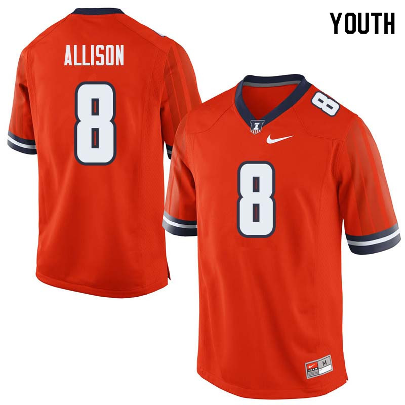 Youth #8 Geronimo Allison Illinois Fighting Illini College Football Jerseys Sale-Orange