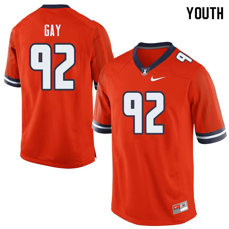 Youth #92 Isaiah Gay Illinois Fighting Illini College Football Jerseys Sale-Orange