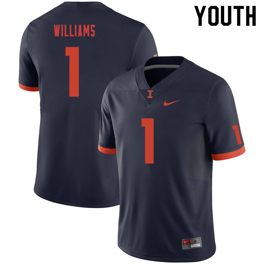 Youth #1 Isaiah Williams Illinois Fighting Illini College Football Jerseys Sale-Navy
