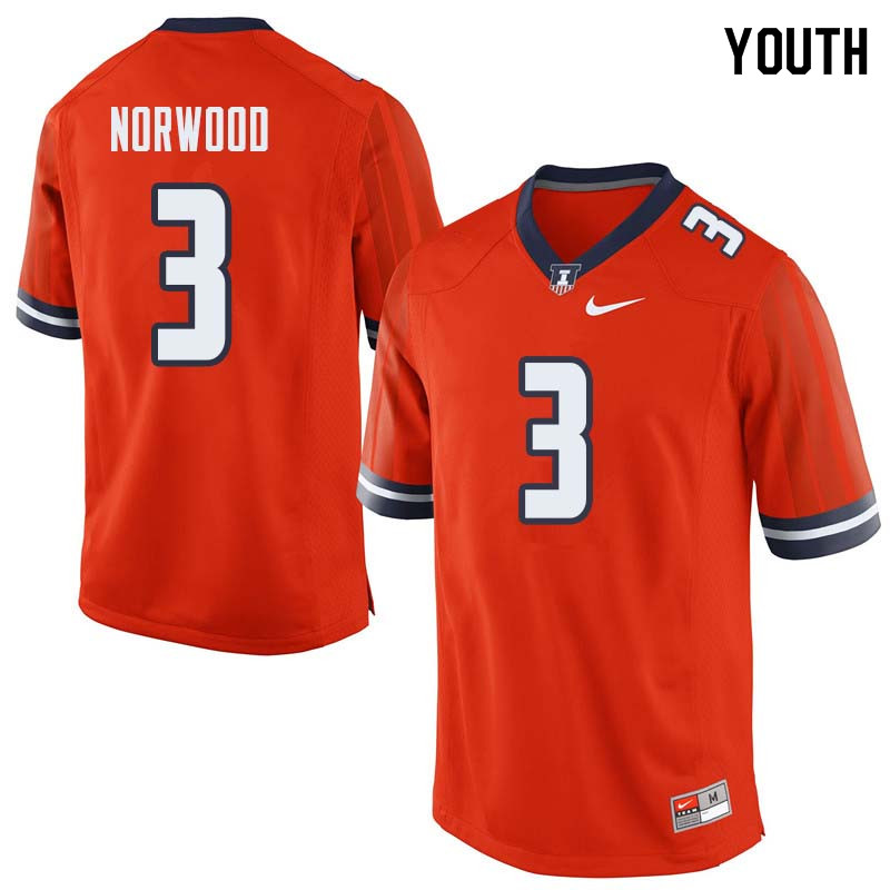 Youth #3 Jakari Norwood Illinois Fighting Illini College Football Jerseys Sale-Orange