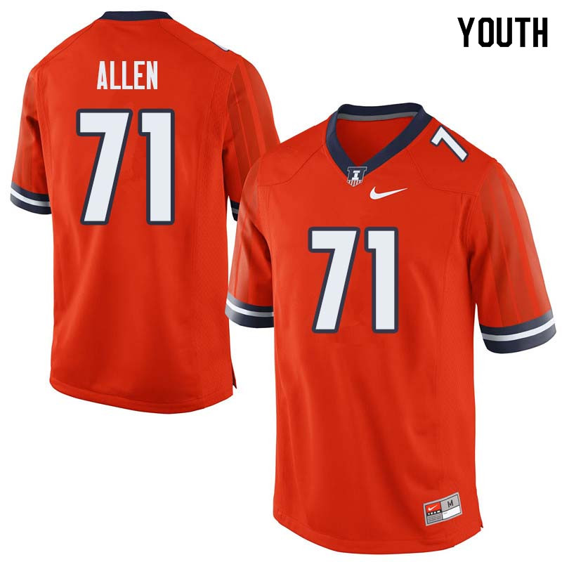Youth #71 Jeff Allen Illinois Fighting Illini College Football Jerseys Sale-Orange