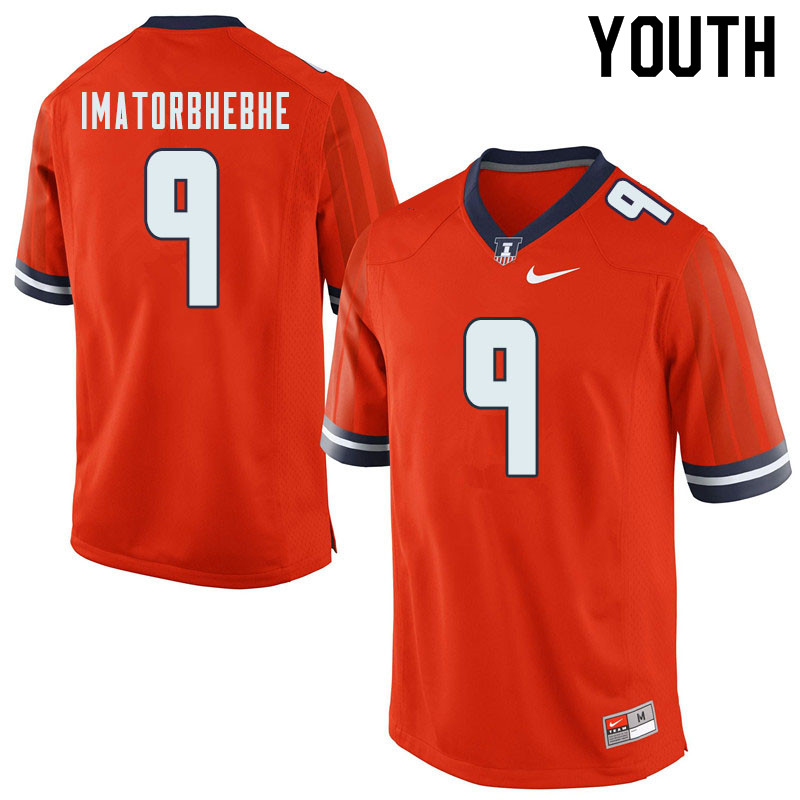 Youth #9 Josh Imatorbhebhe Illinois Fighting Illini College Football Jerseys Sale-Orange