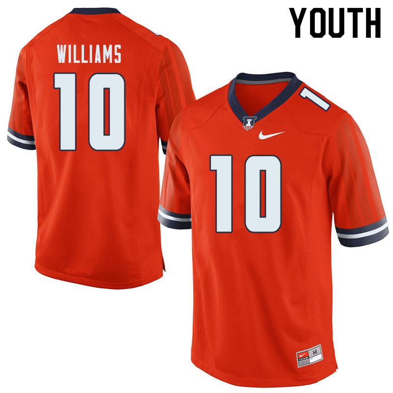 Youth #10 Justice Williams Illinois Fighting Illini College Football Jerseys Sale-Orange
