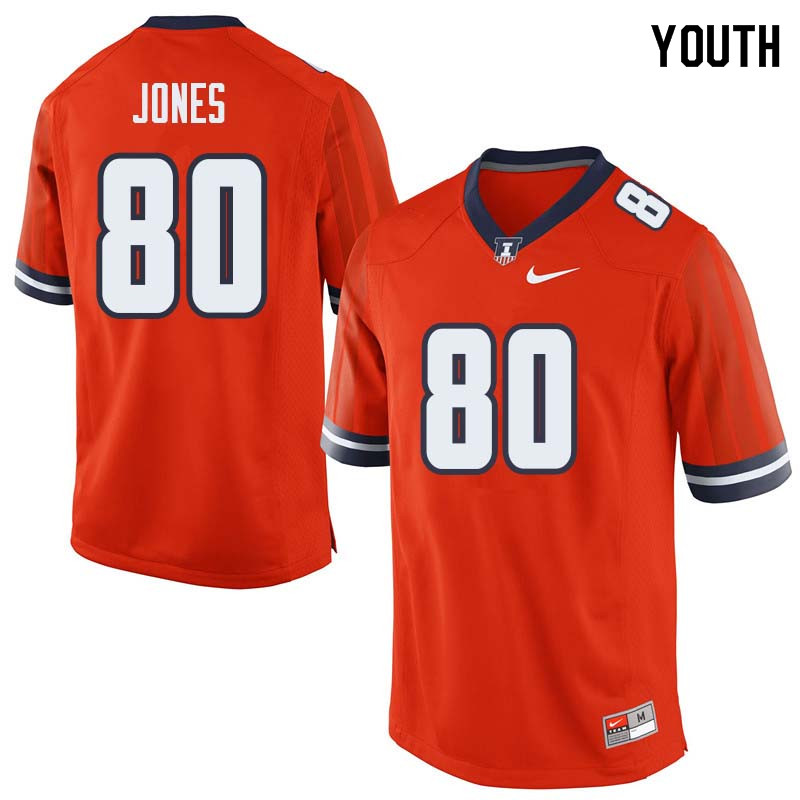 Youth #80 Keith Jones Illinois Fighting Illini College Football Jerseys Sale-Orange