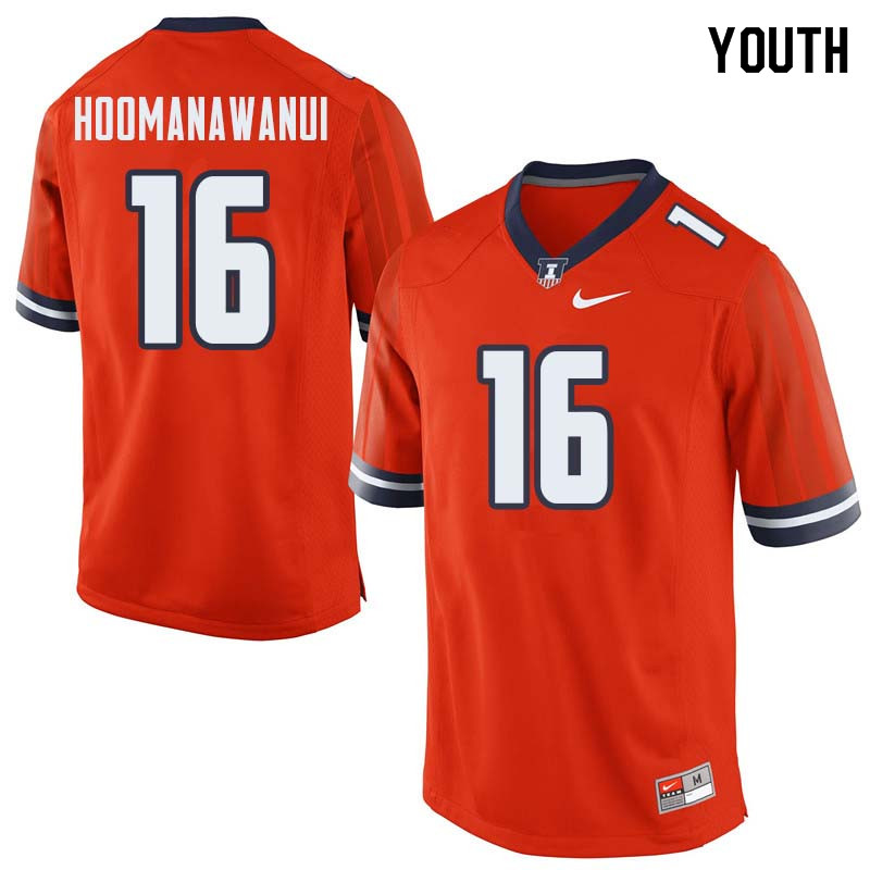 Youth #16 Michael Hoomanawanui Illinois Fighting Illini College Football Jerseys Sale-Orange