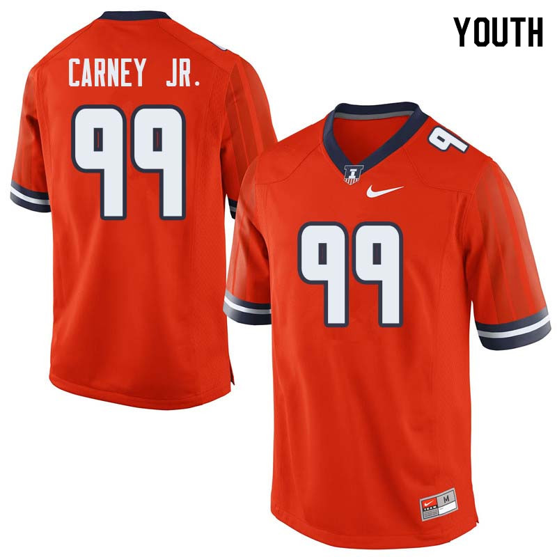 Youth #99 Owen Carney Jr. Illinois Fighting Illini College Football Jerseys Sale-Orange