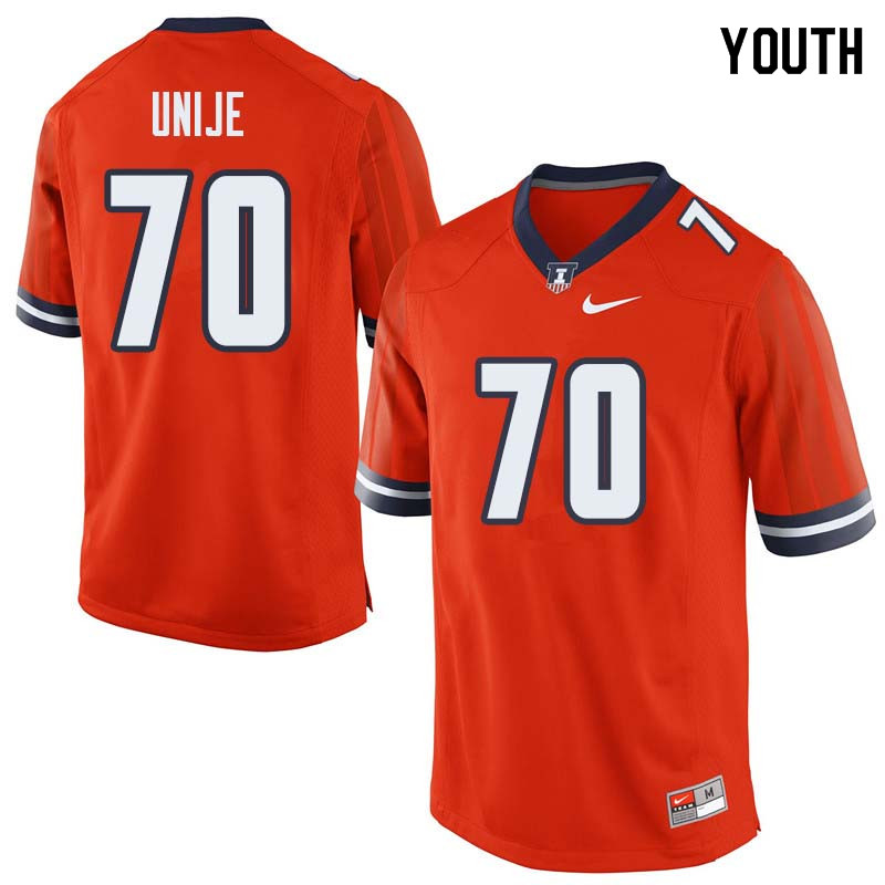 Youth #70 Reuben Unije Illinois Fighting Illini College Football Jerseys Sale-Orange