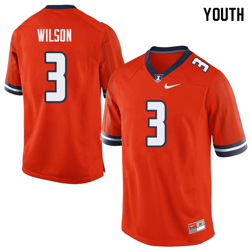 Youth #3 Tavon Wilson Illinois Fighting Illini College Football Jerseys Sale-Orange