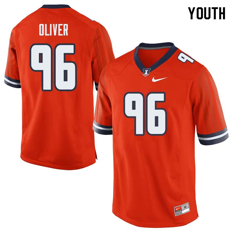Youth #96 Tymir Oliver Illinois Fighting Illini College Football Jerseys Sale-Orange