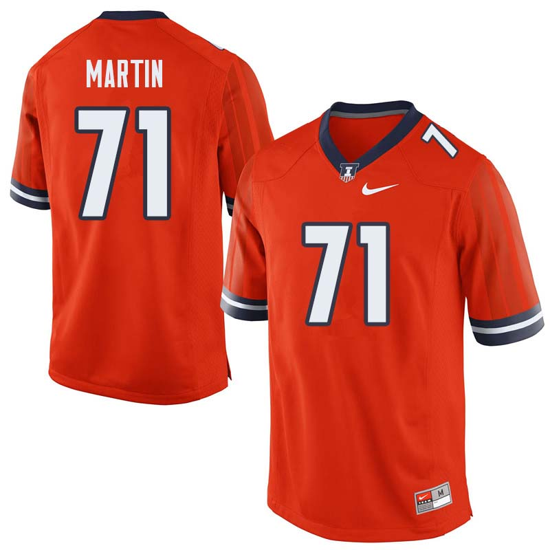Men #71 Zeke Martin Illinois Fighting Illini College Football Jerseys Sale-Orange